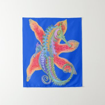 Beach Themed seahorse and starfish painting tapestry