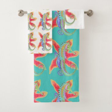 Beach Themed seahorse and starfish towel set