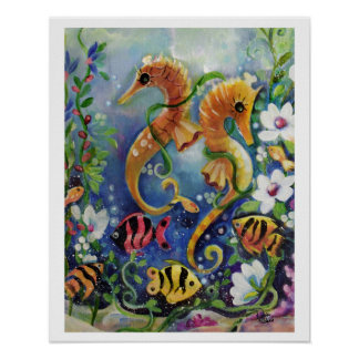 SeaHorse and Tropical fish, colorful Poster