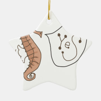 Seahorse answers yes ceramic ornament