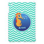 Seahorse; Aqua Green Chevron iPad Mini Cover