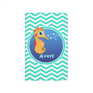Seahorse; Aqua Green Chevron Journals