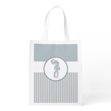 Beach Themed Seahorse Art Casual Beach Reusable Grocery Bag