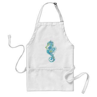 Seahorse azul abstracto delantal
