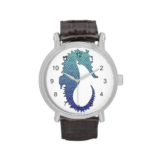 Seahorse azul de la onda reloj de mano