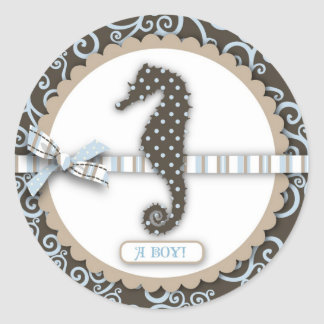 Seahorse Baby Boy Square Round Stickers
