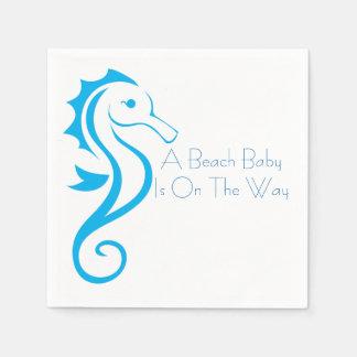 Seahorse Baby Shower Napkin (boy) Standard Cocktail Napkin