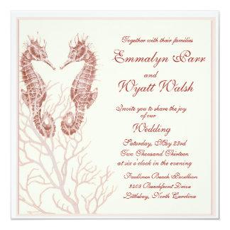 seahorse beach -  brown wedding invitation