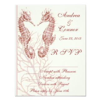 Seahorse beach brown wedding RSVP 4.25x5.5 Paper Invitation Card