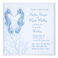 seahorse beach wedding blue - invitation