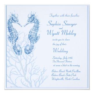 seahorse beach wedding blue - invitation