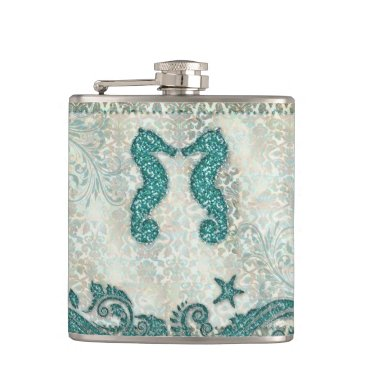Beach Themed Seahorse Beach Wedding Teal Glitter Damask Hip Flask