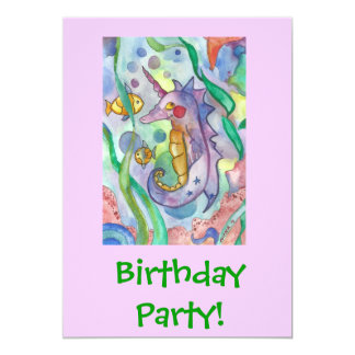 Seahorse Birthday Party Personalized Invitations