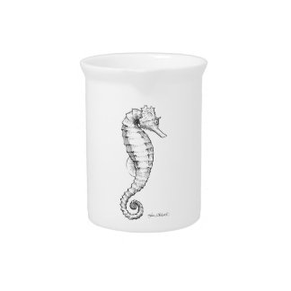 Seahorse Black and White Drawing Beverage Pitcher