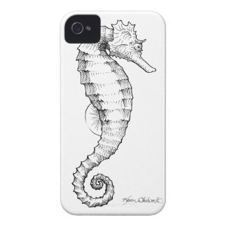 Seahorse Black and White Drawing iPhone 4 Cover