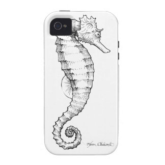 Seahorse Black and White Drawing iPhone 4 Case
