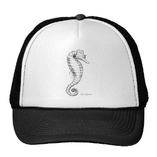 Seahorse Black and White Drawing Trucker Hat