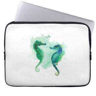 Seahorse blanco de la manga del ordenador portátil funda portátil