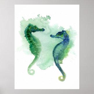 Seahorse blanco del poster de los seahorses del ve