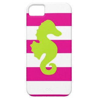 Seahorse blanco y verde de las rosas fuertes iPhone 5 Case-Mate protectores
