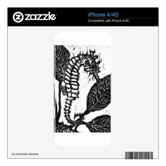 Seahorse  Block Print iPhone 4S Skins