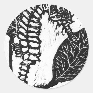 Seahorse  Block Print Classic Round Sticker