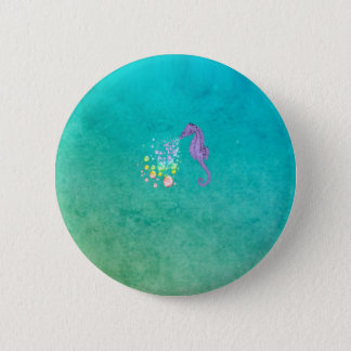 Seahorse blowing rainbow bubbles in the water pinback button