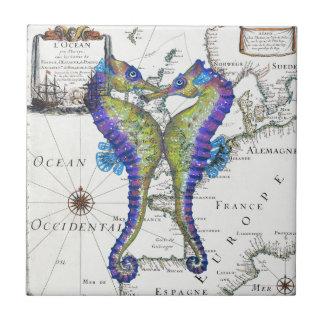 Seahorse Blue Ceramic Tile