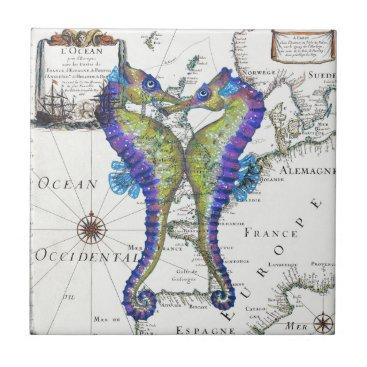 Beach Themed Seahorse Blue Ceramic Tile
