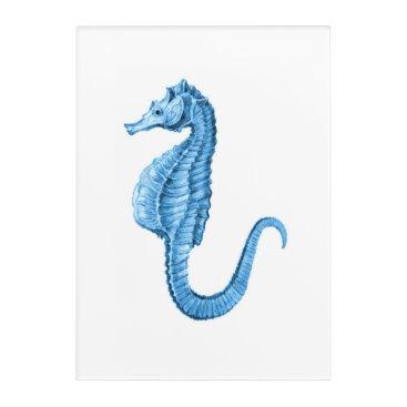 Beach Themed Seahorse blue coastal nautical watercolor acrylic wall art