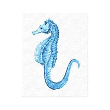 Beach Themed Seahorse blue coastal nautical watercolor canvas print