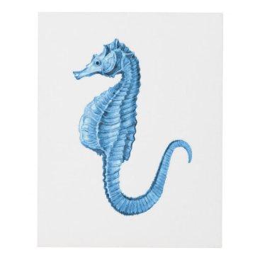 Beach Themed Seahorse blue coastal nautical watercolor panel wall art