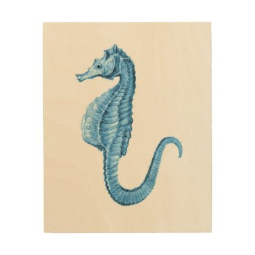 Beach Themed Seahorse blue coastal nautical watercolor wood print