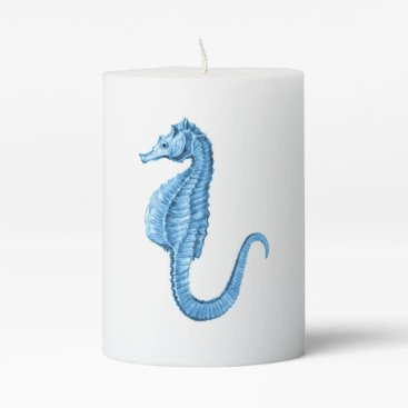 Beach Themed Seahorse blue coastal ocean nautical beach pillar candle