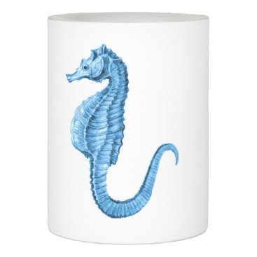 Beach Themed Seahorse blue coastal ocean nautical gift decor flameless candle