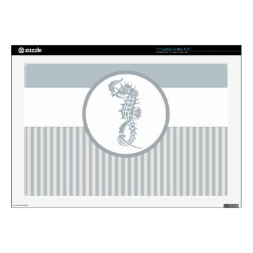 """Beach Themed Seahorse Blue Elegant Summer Decals For 17"""" Laptops"""