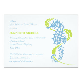 Seahorse blue, green wedding bridal shower card