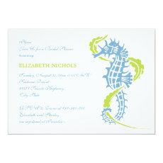 Seahorse blue, green wedding bridal shower 5