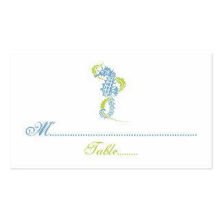 Seahorse blue, green wedding place card