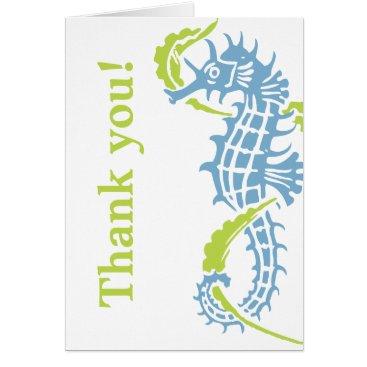 Beach Themed Seahorse blue, green wedding Thank You Card