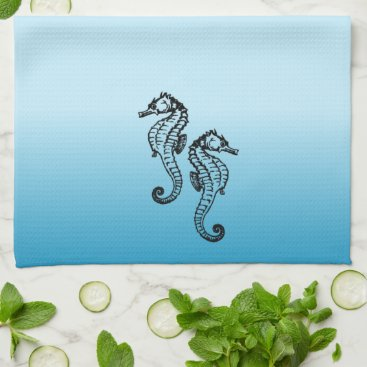 Beach Themed Seahorse Blue Kitchen Towel