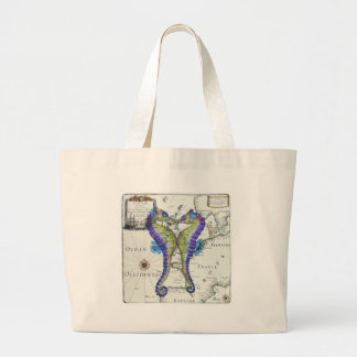Seahorse Blue Large Tote Bag