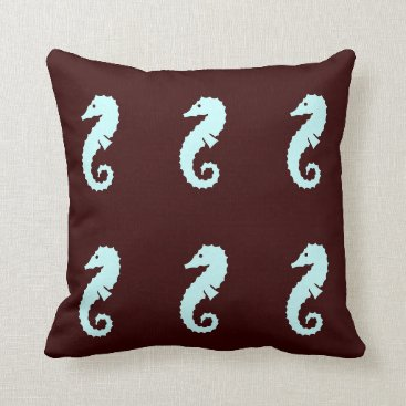 Beach Themed SEAHORSE  blue on brown  pillow
