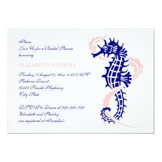 Seahorse blue, pink wedding bridal shower 5x7 paper invitation card