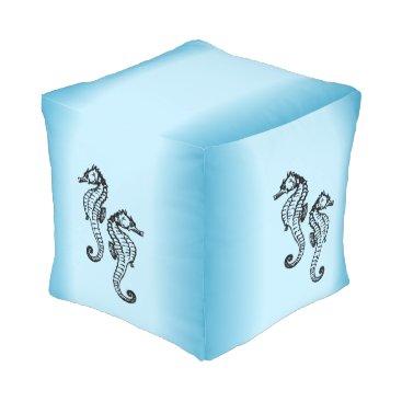 Beach Themed Seahorse Blue Pouf