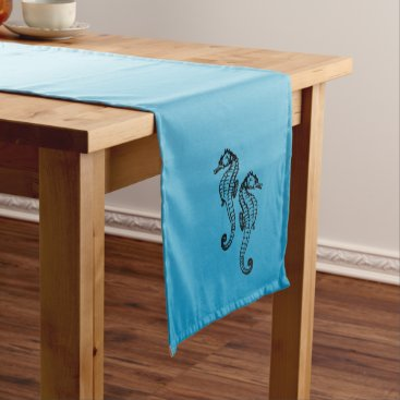 Beach Themed Seahorse Blue Short Table Runner