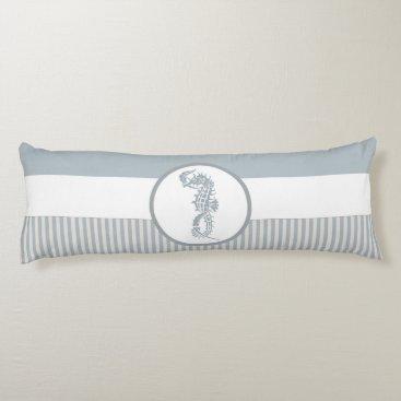 seahorse blue stripe beach house body pillow