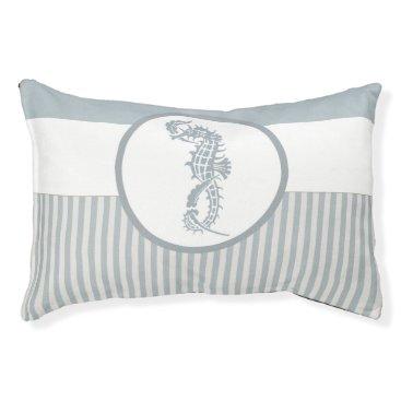 Beach Themed seahorse blue stripe beach house pet bed