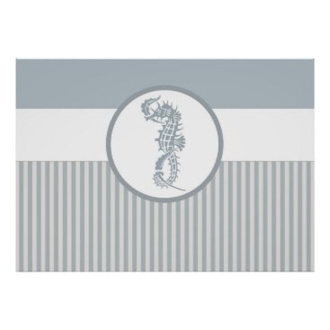 Beach Themed seahorse blue stripe beach house poster