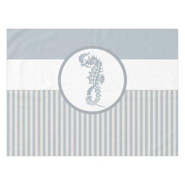 Beach Themed seahorse blue stripe beach house tablecloth